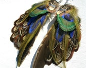 SALE Feather Earrings. Peacock & Pheasant Feathers. Nazar Boncugu