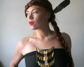 Raw Quartz Crystal and Vintage Copper & Brass Statement Necklace