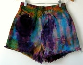 Tie Dye Shorts High Waisted Cut Offs Size Medium  Tribal Rainbow Boho Festival Psychedelic Party Pants