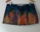 SALE Tie Dye Cut Off Mini Skirt Size 9 Medium  Hollister Rainbow Boho Beach Babe