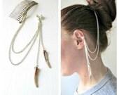 Hair Comb And Ear Cuff. Stone & Seashell Natural Bohemian Summer Hair Jewelry