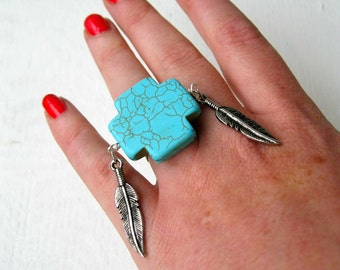 Turquoise Cross And Feather Ring. Adjustable