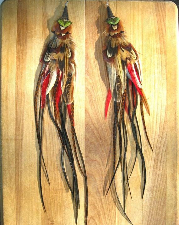 AMICALOLA FALLS cascading exotic LONG feather earrings 14 inches