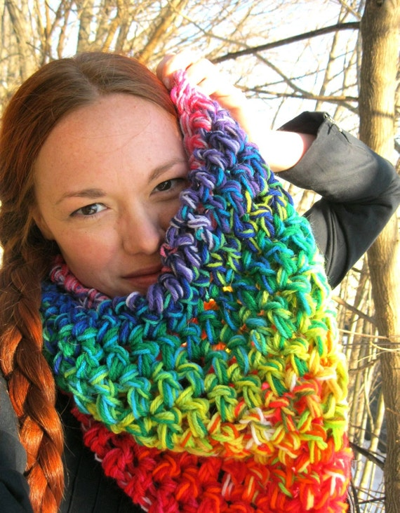 SALE Chunky Crochet Cowl PRISM PUNCH