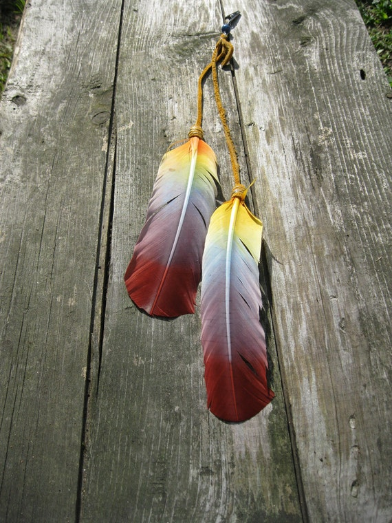 SALE Hand Dyed Feather and Buckskin RAINBOW NATIVE Hair Extension