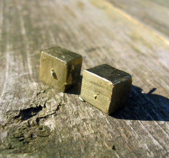 Pyrite Cube Post Earrings