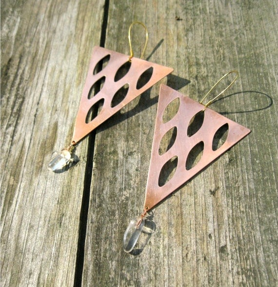 Quartz Crystal and Vintage Copper Statement Earrings