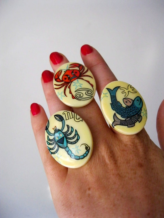 SALE Vintage Zodiac Cocktail Rings. What's Your Sign