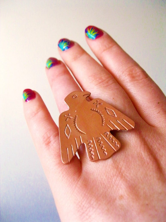 Sale. Thunderbird. Vintage Copper Ring