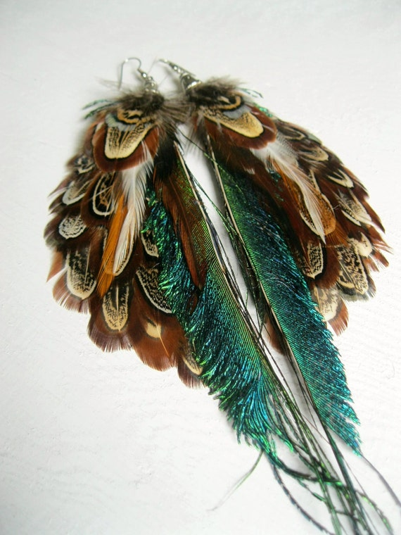 Peacock Feather Earrings With Pheasant Feathers. Flying Swords