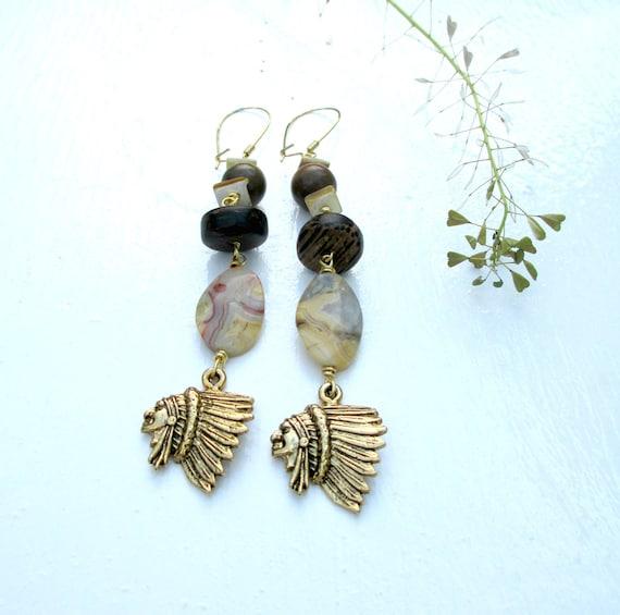 Chief Seattle. Stone And Brass Native American Earrings. Mixed Wood Jasper & Seashells.