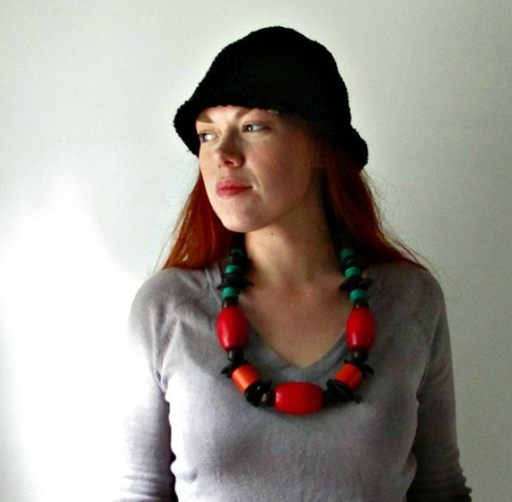 SALE Vintage Chunky Wood Bead Statement Necklace