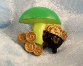 Vintage Plastic St. Patrick Day Brooch/Pin - Pot of Gold under Mushroom