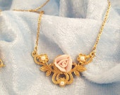 Pretty Pink Porcelain Rose and Pearls Gold Tone Chain Necklace