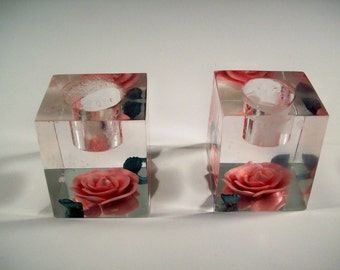 Pair Mid Century Chunky Lucite Candle Holders Pink Rose Vintage 50s