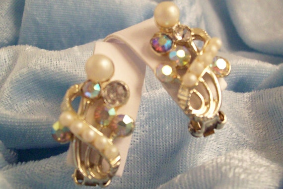 Aurora Borealis Rhinestones and Pearls Clip Earrings