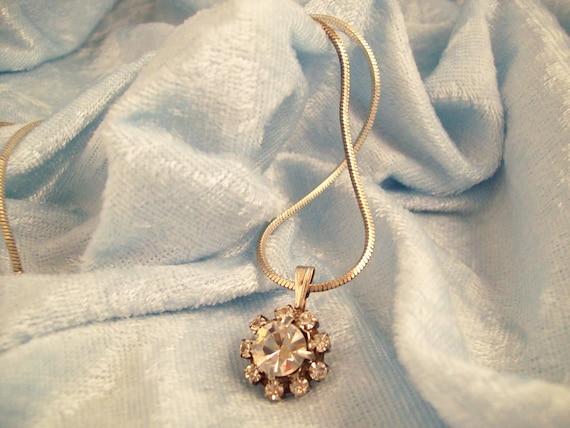 Vintage Stunning Sparkling Rhinestone Pendant Necklace - Silver Tone Snake Chain