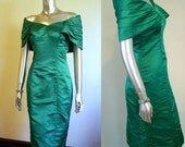 1960s Emerald Green SILK Madmen Wiggle Dress SM