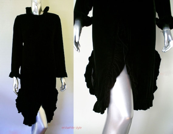 vintage 1960s black velvet dress/60s velvet dress/eloise curtis black dress