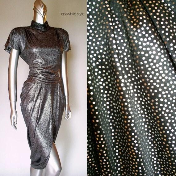 1980s Liquid Silver Metallic Dress SM/MED