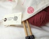 Hand printed Knitting Project Bag - Medium size