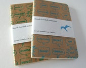 Hand printed English Insults notebook in teal blue