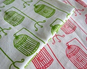 Hand printed Lime Green Birdcage fabric