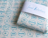 Hand printed teal/blue English Insults fabric