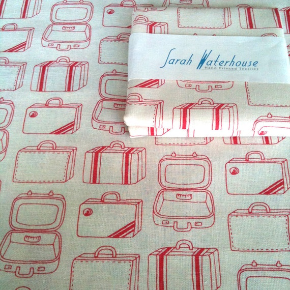 Hand printed Cherry Red Suitcases fabric