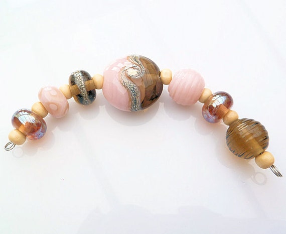 Super Sale Antique Desert Rose Lampwork Bead Set SRA