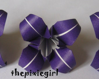 ORIGAMI PAPER HANDMADE 12 Medium Purple Iris Folded Flowers Wedding Anniversary Gift table Decorations