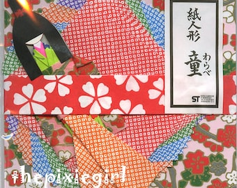 Japanese Origami Paper Ningyo Doll Washi Kit with Premade Doll