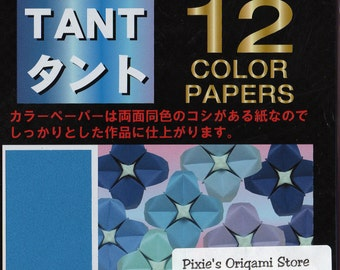 JAPANESE ORIGAMI PAPER Blue Purple Tones 48 Sheet Semi-textured Double Sided 15cm