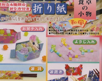JAPANESE ORIGAMI PAPER Craft Kit with Yuzen Washi Chopstick holders, Candy Box and more
