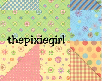 ORIGAMI PAPER Double Sided Flower Flora RETRO Print 20 Sheets