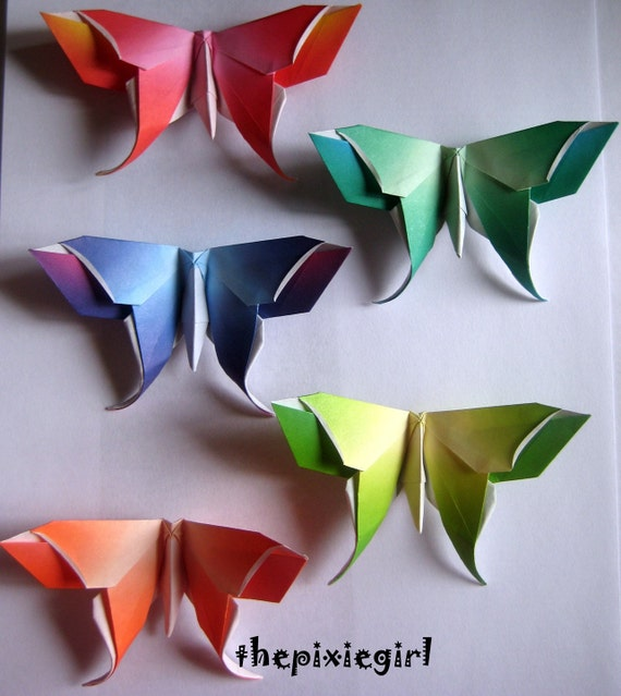 ORIGAMI PAPER HANDMADE Folded Large Harmony Butterflies Butterfly 10 Different Colors
