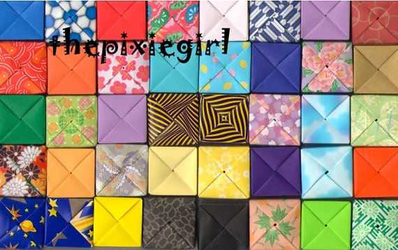 ORIGAMI PAPER BOX Handmade Folded 20 Mini Boxes Cute For Jewelry