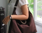 Sale - Chocolate Cotton Twill Hobo Bag - Shoulder bag, Diaper bag, Messenger bag, Tote, Travel bag, Women - ANGELA