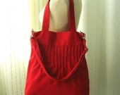 Sale - Red Canvas Bags - Shoulder bag, Diaper bag, Messenger bag, Tote, Travel bag, Women - Irene