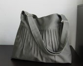 Sale - Grey Canvas Diaper Bag with Extra Pockets, messenger, tote, shoulder, travel, women - Blythe