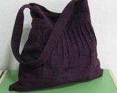 Sale - Deep Purple Lines Hemp/Cotton Bag - Shoulder bag, Diaper bag, Messenger bag, Tote, Travel bag, Women