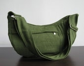 Sale - Green Hemp/Cotton Bag - Shoulder bag, Diaper bag, Messenger bag, Tote, Travel bag, Women - SMILEY