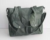Sale - Grey Water-Resistant Bag - 3 Compartments, messenger bag, crossbody bag, tote, diaper bag, shoulder bag, all purpose