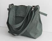Sale - Grey Water-Resistant Bag, diaper bag, gym bag, tote, purse, shoulder bag, messenger bag, everyday bag, women - Carrie