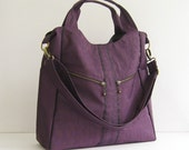 Sale - Water-Resistant Nylon in Deep Plum - diaper bag, messenger bag, laptop, tote, zipper - ALLISON