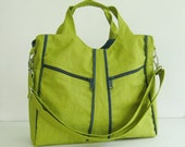 Sale - Apple Green Water-Resistant Nylon Shoulder Bag - Diaper bag, Tote, Messeavel bag, Women - LIttleAllison