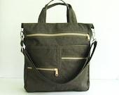 Sale - Chocolate Brown Water-Resistant Tote, messenger, school bag, diaper bag, zipper pockets, purse - Melissa