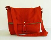 Sale  - Canvas Bag in Burnt Orange - Messenger / Diaper bag / Tote / Handbag / Shoulder bag / Women / Purse - FIONA