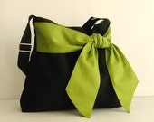 Sale - Black Cotton Twill Cross body Bag, tote, handbag, diaper bag, messenger, bow, stylish, fashionable - Ninny