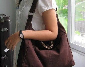 Sale - Chocolate Cotton Twill Hobo Bag - Shoulder bag, Diaper bag, Messenger bag, Tote, Travel bag, Women - ANGELA